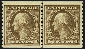 Sale Number 1111, Lot Number 490, 1913-15 Washington-Franklin Issues, Cont. (Scott 449-461)4c Brown, Coil (457), 4c Brown, Coil (457)
