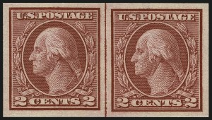 Sale Number 1111, Lot Number 495, 1913-15 Washington-Franklin Issues, Cont. (Scott 449-461)2c Carmine, Ty. I, Imperforate Coil (459), 2c Carmine, Ty. I, Imperforate Coil (459)
