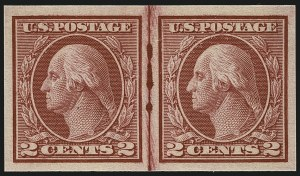 Sale Number 1111, Lot Number 496, 1913-15 Washington-Franklin Issues, Cont. (Scott 449-461)2c Carmine, Ty. I, Imperforate Coil (459), 2c Carmine, Ty. I, Imperforate Coil (459)