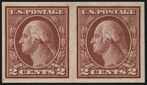 Sale Number 1111, Lot Number 497, 1913-15 Washington-Franklin Issues, Cont. (Scott 449-461)2c Carmine, Ty. I, Imperforate Coil (459), 2c Carmine, Ty. I, Imperforate Coil (459)