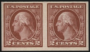 Sale Number 1111, Lot Number 499, 1913-15 Washington-Franklin Issues, Cont. (Scott 449-461)2c Carmine, Ty. I, Imperforate Coil (459), 2c Carmine, Ty. I, Imperforate Coil (459)