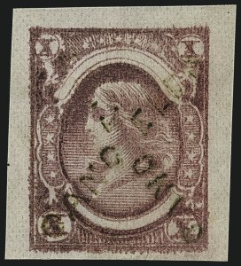 "Sale Number 1111, Lot Number 51, 1867-68 Grilled Issue and 1875 Re-Issue (Scott 79-111)""X"" Cents Dull Claret Die Essay on Wove Paper with Crossed ""Cancelled"" Handstamps (79-E10b), ""X"" Cents Dull Claret Die Essay on Wove Paper with Crossed ""Cancelled"" Handstamps (79-E10b)"