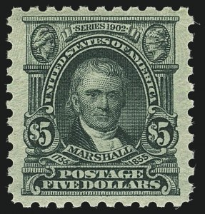 Sale Number 1111, Lot Number 542, 1916-17 Issues (Scott 462-480)$5.00 Light Green (480), $5.00 Light Green (480)