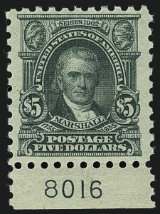 Sale Number 1111, Lot Number 543, 1916-17 Issues (Scott 462-480)$5.00 Light Green (480), $5.00 Light Green (480)