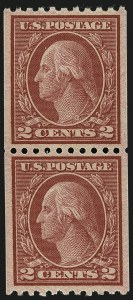 Sale Number 1111, Lot Number 548, 1917-19 Issues (Scott 481-505)2c Carmine, Ty. II, Coil (487), 2c Carmine, Ty. II, Coil (487)