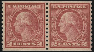 Sale Number 1111, Lot Number 550, 1917-19 Issues (Scott 481-505)2c Carmine, Ty. II, Coil (491), 2c Carmine, Ty. II, Coil (491)