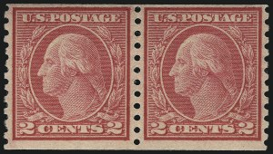 Sale Number 1111, Lot Number 551, 1917-19 Issues (Scott 481-505)2c Carmine, Ty. II, Coil (491), 2c Carmine, Ty. II, Coil (491)