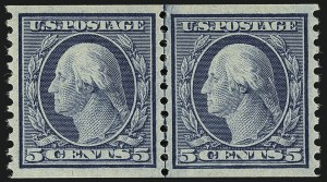 Sale Number 1111, Lot Number 557, 1917-19 Issues (Scott 481-505)5c Blue, Coil (496), 5c Blue, Coil (496)
