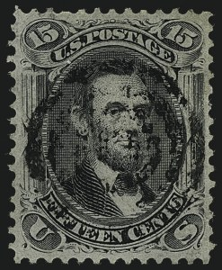 Sale Number 1111, Lot Number 56, 1867-68 Grilled Issue and 1875 Re-Issue (Scott 79-111)15c Black, F. Grill, Very Thin Paper (98 var), 15c Black, F. Grill, Very Thin Paper (98 var)