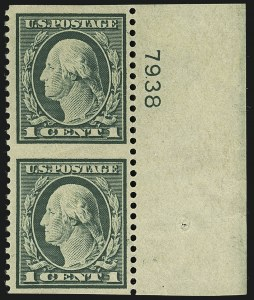 Sale Number 1111, Lot Number 560, 1917-19 Issues (Scott 481-505)1c Green, Vertical Pair, Imperforate Horizontally (498a), 1c Green, Vertical Pair, Imperforate Horizontally (498a)