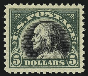 Sale Number 1111, Lot Number 592, 1917-19 Issues, Cont. (Scott 506-524)$5.00 Deep Green & Black (524), $5.00 Deep Green & Black (524)