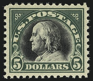 Sale Number 1111, Lot Number 593, 1917-19 Issues, Cont. (Scott 506-524)$5.00 Deep Green & Black (524), $5.00 Deep Green & Black (524)
