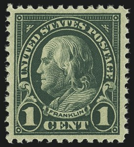 Sale Number 1111, Lot Number 619, 1922-25 Issues (Scott 551-573a)1c Deep Green (552), 1c Deep Green (552)