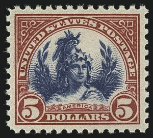 Sale Number 1111, Lot Number 634, 1922-25 Issues (Scott 551-573a)$5.00 Carmine & Blue (573), $5.00 Carmine & Blue (573)