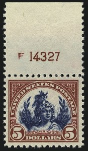 Sale Number 1111, Lot Number 636, 1922-25 Issues (Scott 551-573a)$5.00 Carmine Lake & Dark Blue (573a), $5.00 Carmine Lake & Dark Blue (573a)