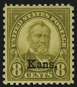 Sale Number 1111, Lot Number 676, 1929 Kansas-Nebraska Issue (Scott 658-679)8c Kans. Ovpt. (666), 8c Kans. Ovpt. (666)