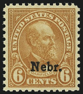 Sale Number 1111, Lot Number 684, 1929 Kansas-Nebraska Issue (Scott 658-679)6c Nebr. Ovpt. (675), 6c Nebr. Ovpt. (675)