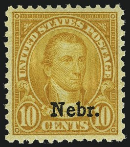 Sale Number 1111, Lot Number 691, 1929 Kansas-Nebraska Issue (Scott 658-679)10c Nebr. Ovpt. (679), 10c Nebr. Ovpt. (679)
