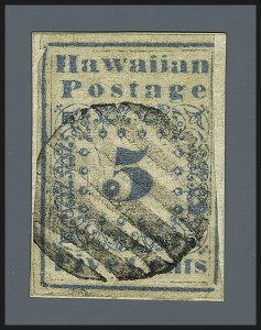 Sale Number 1112, Lot Number 1001, 1851-52 Missionary Issue (Scott 2-4)HAWAII, 1851, 5c Blue (2), HAWAII, 1851, 5c Blue (2)