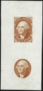 Sale Number 1113, Lot Number 2005, Postmasters ProvisionalsNew York N.Y., 5c Washington, Small Die Trial Color Proofs on India and Bond (9X1TC2, 9X1TC5), New York N.Y., 5c Washington, Small Die Trial Color Proofs on India and Bond (9X1TC2, 9X1TC5)