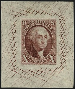 Sale Number 1113, Lot Number 2017, 1847 Issue: Trial Color Proofs5c and 10c Scarlet Vermilion, Large Die Trial Color Proofs on Bond (1TC1b-2TC1b), 5c and 10c Scarlet Vermilion, Large Die Trial Color Proofs on Bond (1TC1b-2TC1b)