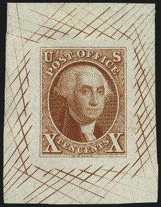 Sale Number 1113, Lot Number 2018, 1847 Issue: Trial Color Proofs5c and 10c Orange Vermilion, Large Die Trial Color Proofs on Bond (1TC1b-2TC1b), 5c and 10c Orange Vermilion, Large Die Trial Color Proofs on Bond (1TC1b-2TC1b)