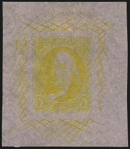 Sale Number 1113, Lot Number 2020, 1847 Issue: Trial Color Proofs5c and 10c Deep Yellow, Large Die Trial Color Proofs on Pink Bond (1TC1b var-2TC1b var), 5c and 10c Deep Yellow, Large Die Trial Color Proofs on Pink Bond (1TC1b var-2TC1b var)