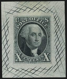 Sale Number 1113, Lot Number 2021, 1847 Issue: Trial Color Proofs5c and 10c Blue Green, Large Die Trial Color Proofs on Bond (1TC1b-2TC1b), 5c and 10c Blue Green, Large Die Trial Color Proofs on Bond (1TC1b-2TC1b)