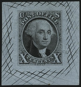 Sale Number 1113, Lot Number 2051, 1847 Issue: Die Proofs10c Black, Large Die Proofs on White and Colored Bond (2P1a, 2P1b), 10c Black, Large Die Proofs on White and Colored Bond (2P1a, 2P1b)