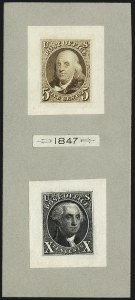 Sale Number 1113, Lot Number 2055, 1847 Issue: Plate Proofs5c Orange Brown, 10c Black, 1875 Reproduction, Small Die Proofs on Wove (3P2-4P2), 5c Orange Brown, 10c Black, 1875 Reproduction, Small Die Proofs on Wove (3P2-4P2)