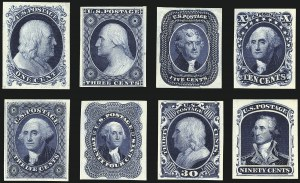 Sale Number 1113, Lot Number 2109, 1851-60 Issue: 1875 Reprints1c-90c 1857 Reprints, Atlanta Trial Color Proofs on Card (40TC4-47TC4), 1c-90c 1857 Reprints, Atlanta Trial Color Proofs on Card (40TC4-47TC4)