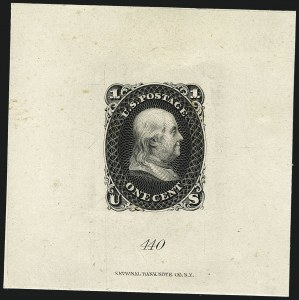 Sale Number 1113, Lot Number 2145, 1861-66 Issue: National Bank Note Co.National Bank Note Co., 1c Black, First Design, Die Essay on India (63-E11a; formerly 55TC1), National Bank Note Co., 1c Black, First Design, Die Essay on India (63-E11a; formerly 55TC1)