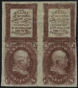 Sale Number 1113, Lot Number 2150, 1861-66 Issue: National Bank Note Co.1c Bowlsby Patent Coupon, Plate Essays (63-E13c-h), 1c Bowlsby Patent Coupon, Plate Essays (63-E13c-h)