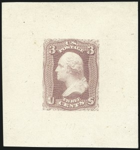 Sale Number 1113, Lot Number 2156, 1861-66 Issue: National Bank Note Co.National Bank Note Co., 3c Pink, Large Die Proof on India (64P1), National Bank Note Co., 3c Pink, Large Die Proof on India (64P1)