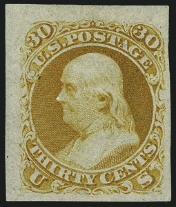 Sale Number 1113, Lot Number 2164, 1861-66 Issue: National Bank Note Co.National Bank Note Co., 30c First Design, Plate Essay on Semitransparent Stamp Paper (71-E2e), National Bank Note Co., 30c First Design, Plate Essay on Semitransparent Stamp Paper (71-E2e)
