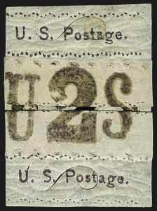 "Sale Number 1113, Lot Number 2175, 1867 Issue: Unkown AuthorsUnknown Author, 2c Dull Red Violet, ""U.S. Postage"" Re-Use Prevention Essay (79-E1), Unknown Author, 2c Dull Red Violet, ""U.S. Postage"" Re-Use Prevention Essay (79-E1)"