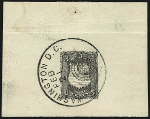 Sale Number 1113, Lot Number 2186, 1867 Issue: National Bank Note Co.National Bank Note Co., 3c Black, Deep Pink, Shield-Shaped Die Essay on Thick White Paper, Washington, D.C. Feb. 21 Postmark (79-E18b), National Bank Note Co., 3c Black, Deep Pink, Shield-Shaped Die Essay on Thick White Paper, Washington, D.C. Feb. 21 Postmark (79-E18b)