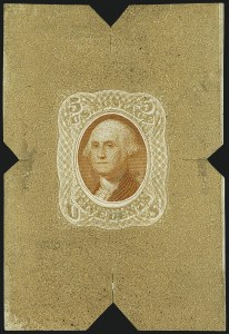 Sale Number 1113, Lot Number 2207, 1868 Experiments for Bi-Color Printing: National Bank Note Co.National Bank Note Co., 5c Buff & Orange, Untrimmed Die Essay on Thin White Paper (79-E35a), National Bank Note Co., 5c Buff & Orange, Untrimmed Die Essay on Thin White Paper (79-E35a)