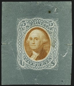 Sale Number 1113, Lot Number 2209, 1868 Experiments for Bi-Color Printing: National Bank Note Co.National Bank Note Co., 5c Blue Green & Orange, Untrimmed Die Essay on Thin White Paper (79-E35a), National Bank Note Co., 5c Blue Green & Orange, Untrimmed Die Essay on Thin White Paper (79-E35a)