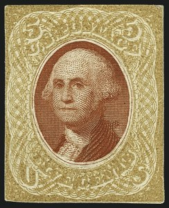Sale Number 1113, Lot Number 2210, 1868 Experiments for Bi-Color Printing: National Bank Note Co.National Bank Note Co., 5c Buff & Carmine, Untrimmed Die Essay on Thin White Paper (79-E35a), National Bank Note Co., 5c Buff & Carmine, Untrimmed Die Essay on Thin White Paper (79-E35a)