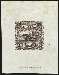 Sale Number 1113, Lot Number 2233, 1c-3c 1869 Pictorial Issue: National Bank Note Co.2c Brown, Small Numeral, Die Essay on India, Completed Die (113-E3a), 2c Brown, Small Numeral, Die Essay on India, Completed Die (113-E3a)