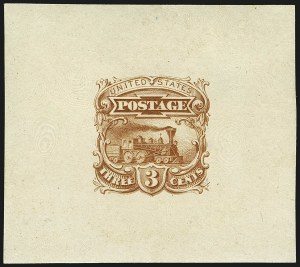 Sale Number 1113, Lot Number 2235, 1c-3c 1869 Pictorial Issue: National Bank Note Co.3c Small Numeral Die Essay on India (114-E4a), 3c Small Numeral Die Essay on India (114-E4a)