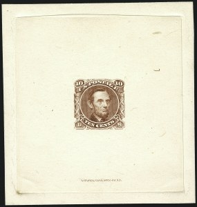 Sale Number 1113, Lot Number 2247, 5c-10c 1869 Pictorial Issue: National Bank Note Co.10c Lincoln, Large Die Essay on India (116-E1c), 10c Lincoln, Large Die Essay on India (116-E1c)