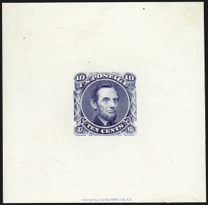 Sale Number 1113, Lot Number 2249, 5c-10c 1869 Pictorial Issue: National Bank Note Co.10c Lincoln, Die Essay on Ivory Paper (116-E1e), 10c Lincoln, Die Essay on Ivory Paper (116-E1e)