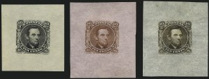 Sale Number 1113, Lot Number 2250, 5c-10c 1869 Pictorial Issue: National Bank Note Co.10c Lincoln, Large Die Essays on Bond (116-E1f-i), 10c Lincoln, Large Die Essays on Bond (116-E1f-i)
