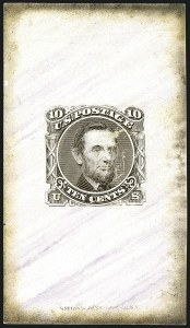 Sale Number 1113, Lot Number 2252, 5c-10c 1869 Pictorial Issue: National Bank Note Co.10c Brown, Large Die Essay on Red Violet Veined Marbled Card (116-E1j), 10c Brown, Large Die Essay on Red Violet Veined Marbled Card (116-E1j)
