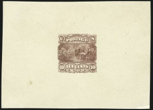 Sale Number 1113, Lot Number 2254, 5c-10c 1869 Pictorial Issue: National Bank Note Co.10c Dim Rose, Declaration of Independence, Large Die Essay on India (116-E2a), 10c Dim Rose, Declaration of Independence, Large Die Essay on India (116-E2a)