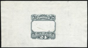 Sale Number 1113, Lot Number 2278, 24c 1869 Pictorial Issue: National Bank Note Co.24c Dark Green, Frame Only, Progressive Die Proof on India (120-E3b var), 24c Dark Green, Frame Only, Progressive Die Proof on India (120-E3b var)