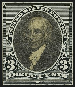 Sale Number 1113, Lot Number 2354, 1890-93 Issue: American Bank Note Co.American Bank Note Co., 3c Dark Green, Frame Mounted over Photo of James Madison (221-E1), American Bank Note Co., 3c Dark Green, Frame Mounted over Photo of James Madison (221-E1)