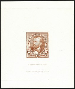 Sale Number 1113, Lot Number 2356, 1890-93 Issue: American Bank Note Co.American Bank Note Co., 5c Grant Facing Left, Die Essay on Glazed Paper (223-E7b), American Bank Note Co., 5c Grant Facing Left, Die Essay on Glazed Paper (223-E7b)